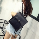 PU Double Shoulders School Bag Travel Backpack Bag (Black)