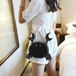 Crab Shape PU Leather Shoulder Bag Ladies Handbag Messenger Bag (Black)