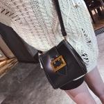 Big Belt Buckle PU Leather Shoulder Bag Ladies Handbag Messenger Bag (Black)
