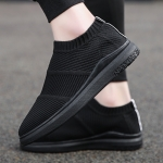 Round Head Flying Woven Mesh Comfortable and Breathable Outdoor Casual Shoes (Color:Black Size:39)