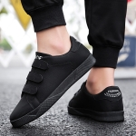 Round Head Solid Color Comfortable PU Casual Shoes for Men (Color:Black Size:39)