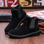 Round Head Comfortable Warm Martin Casual Shoes (Color:Black Size:39)