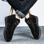 Velvet Warm High-top Outdoor Casual Shoes (Color:Black Size:39)