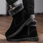 Winter Fashion Trend Velvet Warm Snow Boots Shoes (Color:Black Size:39)