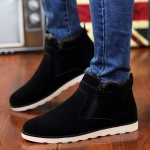 Round Head Suede Couple Snow Boots Shoes (Color:Black Size:37)