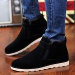 Round Head Suede Couple Snow Boots Shoes (Color:Black Size:37)