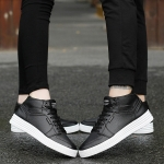 Round Head Breathable Casual High-top Couple Shoes (Color:Black Size:35)