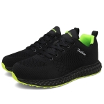 Flying Woven Fashion Comfortable and Breathable Outdoor Casual Shoes for Men (Color:Black Green Size:39)