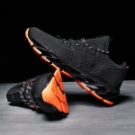 Round Head Comfortable and Breathable Outdoor Sport Casual Shoes for Men (Color:Black Orange Size:39)