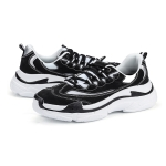 Round Head Microfiber Leather Trend Outdoor Sport Casual Shoes (Color:Black White Size:36)