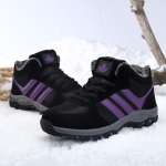 Middle-aged Fashion Cold-proof Non-slip Waterproof High-top Cotton Shoes (Color:Black Purple Size:36)