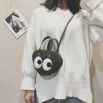 PU Strap Single Shoulder Bag Woolen Ladies Handbag Messenger Bag (Black)