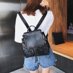 Sequin Drawstring PU Leather Double Shoulders Girl School Bag Backpack Travel Bag (Black)