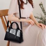 Snakeskin Grain Splicing-style PU Leather Single Shoulder Bag Messenger Bag Ladies Handbag (Black)