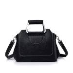 Litchi Texture PU Leather Casual Shoulder Bag Messenger Bag Ladies Handbag (Black)