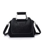 Litchi Texture PU Leather Casual Shoulder Bag Messenger Bag Ladies Handbag (Black)