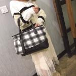 Woolen Grid Pattern Backpack Women Bag Fashion Tote Bag Handbag