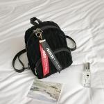 Mini Fashion Plush Bag Backpack Women Double Shoulder Bag (Black)