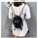 PU Bag Mini Bag Women Shoulder Bag Fashion Backpack Alphabet Bag (Black)