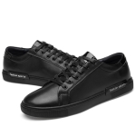 Spring and Autumn Solid Color Flat Outdoor Casual Leather Shoes for Men (Color:Black Size:43)