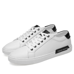 Spring and Autumn Solid Color Flat Outdoor Casual Leather Shoes for Men (Color:White Size:40)