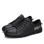 Spring and Autumn Lace Round Head Casual Shoes for Men (Color:Black Size:43)