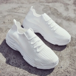 Round Head Solid Color Thick Bottom Trend Outdoor Casual Couple Shoes (Color:White Size:44)