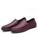 Breathable and Comfortable Casual Leather Shoes for Men (Color:Wine Red Size:41)