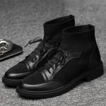 Fashion Breathable Mesh High-top Casual Shoes Increased Shoes for Men (Color:Black Size:43)