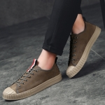 Shell Head Low-cut Lace-up Outdoor Casual Shoes for Men (Color:Grey Size:39)
