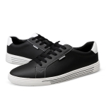 Fashion Round Head Wild Sport PU Casual Shoes for Men (Color:Black Size:37)