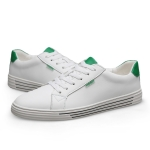 Fashion Round Head Wild Sport PU Casual Shoes for Men (Color:White Green Size:41)