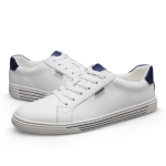 Fashion Round Head Wild Sport PU Casual Shoes for Men (Color:White Blue Size:42)