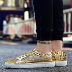 Outdoor Sport Low-top Solid Color Casual Couple Shoes (Color:Gold Size:37)