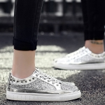 Outdoor Sport Low-top Solid Color Casual Couple Shoes (Color:Silver Size:44)