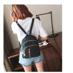 Solid Color Multi-function Oxford Cloth Backpack Ladies Bag Double Shoulders Bag (Black)