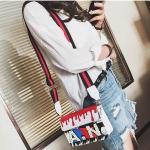 Painting PU Leather Shoulder Bag Coloured Strap Ladies Small Square Bag Messenger Bag Handbag (Black)