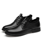Round Head Solid Color Wear-resistant Casual Leather Shoes (Color:Black Size:41)