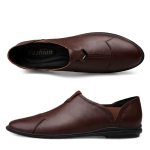 Simple Soft Comfortable Casual Leather Shoes for Men (Color:Brown Size:40)