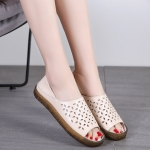 Breathable Hollow Retro Fashion Casual Sandals Slippers for Woman (Color:Beige Size:35)