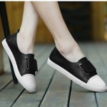 Solid Color Lightweight Flat-bottom Fashion PU Casual Shoes for Woman (Color:Black Size:35)