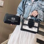 2 in 1 transparent shoulder bag small square bag ladies messenger handbag (Black)