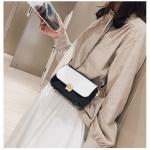 Color Matching Smooth Fashion Shoulder Bag Ladies Messenger Bag Handbag (Black)
