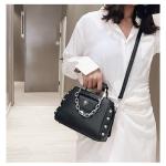 Fashion Rivet PU Leather Single Shoulder Bag Ladies Messenger Handbag (Black)