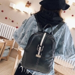 Retro PU Leather Backpack Womens Handbag Double Shoulders Bag (Black)