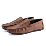 Round Head Comfortable and Breathable Flat Casual Peas Shoes for Men (Color:Brown Size:39)