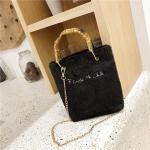 Bamboo Handle Plush Cloth Single Shoulder Bag Ladies Handbag Messenger Bag (Black)