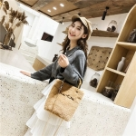 Bamboo Handle Plush Cloth Single Shoulder Bag Ladies Handbag Messenger Bag (Khaki)