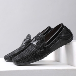 Wear Resistant Round Head Flat Casual Peas Shoes for Men (Color:Black Size:44)