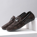 Wear Resistant Round Head Flat Casual Peas Shoes for Men (Color:Brown Size:40)